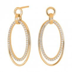 Yellow Gold Finish Double Oval Earrings